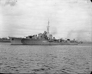 HMS Ulster (R83) - Image: HMS Ulster 1943 IWM FL 003875