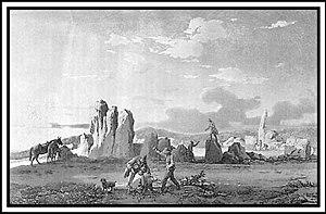Ħaġar Qim - A 1776 engraving of Ħaġar Qim by Jean-Pierre Houël