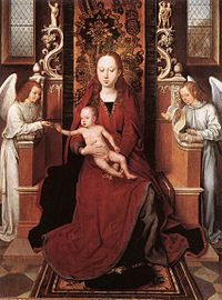 Hans Memling - Virgin and Child Enthroned with Two Angels - WGA14951.jpg