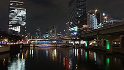 Hanshin Expressway Route 1 at Night in 201412 002.JPG