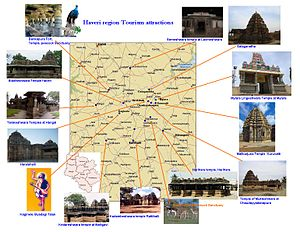 Haveri district -  Haveri region Tourism map, Karnataka