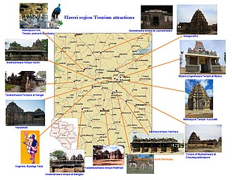 Haveri district -  Haveri region Tourism map, Karnataka