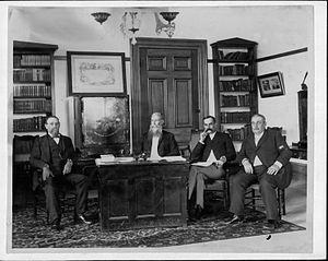 Attorney General of Hawaii - William Owen Smith (third from left) was Attorney General of the provisional government and succeeding Republic of Hawaii. From left to right: Interior Minister James A. King, President Sanford B. Dole, Smith, Finance Minister Peter Cushman Jones.