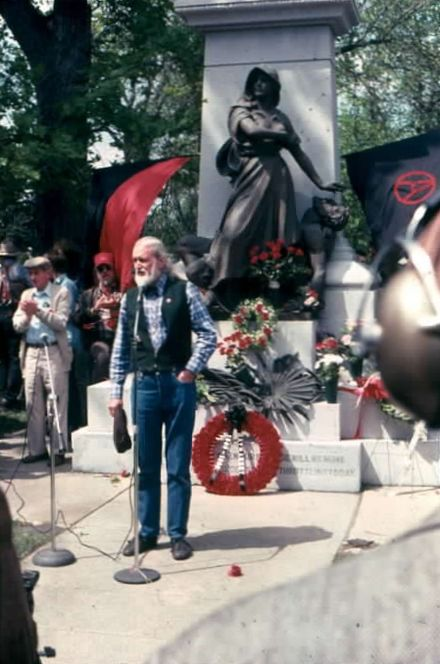 Phillips speaking at Waldheim Cemetery, Forest Park (outside Chicago) in May 1986 during ceremonies commemorating the 100th anniversary of the Haymarket affair. HayMarket100a.jpg