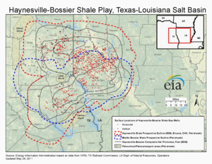 Haynesville Shale - Map showing distribution of Haynesville Shale within East Texas and northwest Louisiana
