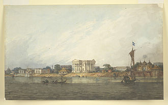Hazarduari Palace - A painting of the Nizamat Fort Area (c. 1814–1815), kept in the British Library, by William Prinsep, showing the old and small Nizamat Fort