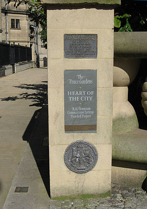 Heart of the City (Sheffield) - Plaque on Pinstone Street, by the Peace Gardens