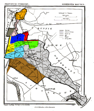 Heemstede, Utrecht - Houten in 1868, with Heemstede in yellow.