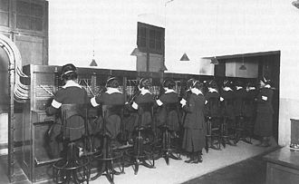 Grace Banker - Hello Girls operating switchboards in Chaumont, France during World War I.