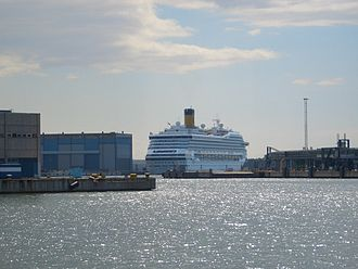 Transport in Finland - A cruise liner in Helsinki harbor.