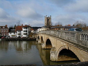 Henley Bridge - The upstream side of the bridge at Henley-on-Thames from near the Henley Royal Regatta headquarters on the Berkshire bank