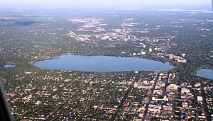 Lake Calhoun - Calhoun (center) from the air.