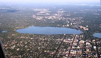 Lake Calhoun - Calhoun (center) from the air.