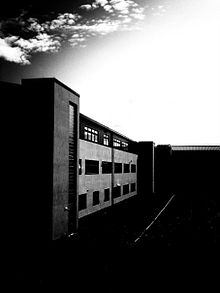 Hermitage Academy in black and white.