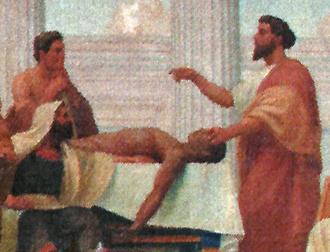 Herophilos - Herophilos (right) teaching Anatomy, 1906, by Veloso Salgado (NOVA Medical School, Lisbon)