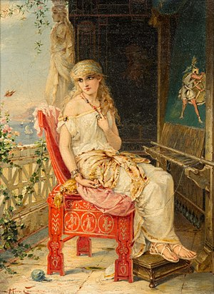 Brothers Poem - The role of Sappho in the Brothers Poem has been compared to that of Penelope in the Odyssey; Sappho awaiting the return of her brother Charaxos just as Penelope (depicted here by Heva Coomans) waits for her husband Odysseus.