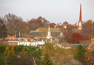 Hudson, Ohio - View of Hudson from Veteran's Way bridge