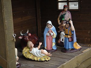 English: Nativity scene in Huldenberg, Belgium...