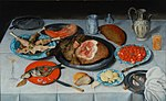 Hulsdonck, Jacob van - Breakfast piece with a fish, ham and cherries - 1614.JPG