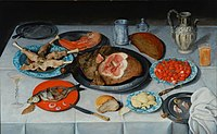 Hulsdonck, Jacob van - Breakfast piece with a fish, ham and cherries - 1614.JPG