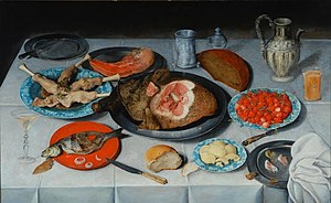 Jacob van Hulsdonck - Image: Hulsdonck, Jacob van Breakfast piece with a fish, ham and cherries 1614