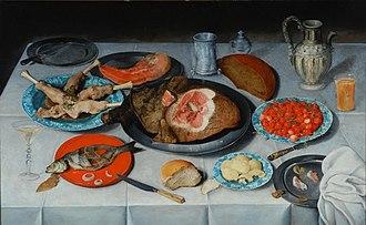 Jacob van Hulsdonck - Image: Hulsdonck, Jacob van Breakfast piece with a fish, ham and cherries 1614