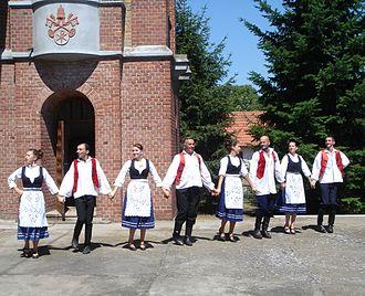 Kelebija - Hungarian dances in front of the Catholic church