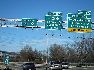Interstate 277 (North Carolina) - Typical overhead sign and mile marker along Brookshire Freeway