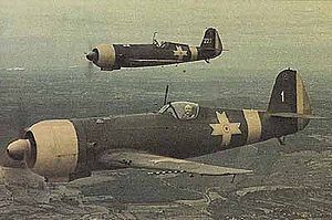 Romanian Air Force - A pair of IAR-80 fighters on patrol during World War II