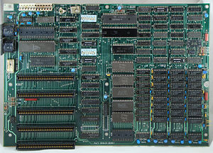 "IBM Personal Computer - Original IBM Personal Computer motherboard, IBM 5150. It has five expansion slots (an interface later called ""PC/XT-bus"" by IBM and ""8-bit ISA"" by other manufacturers of compatible computers), and two DIN connectors for keyboard and cassette interface."