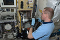 ISS-21 Frank De Winne works with the RadSilk experiment in the Kibo lab.jpg