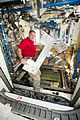 ISS-50 Shane Kimbrough with the treadmill in the Tranquility module.jpg
