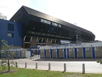 Portman Road - The East of England Co-operative Stand, formerly known variously as the Pioneer Stand, the West Stand and the Britannia Stand, with turnstiles