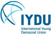 La IYDU-emblemo estas stiligita globo trazigzagita kun bluaj strekoj.