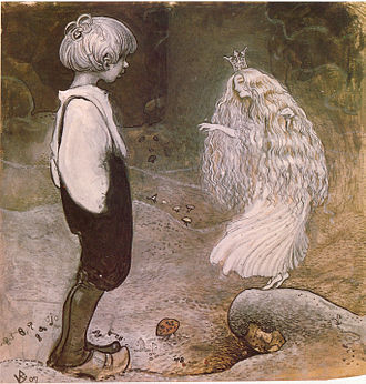 Pixie - John Bauer's illustration of Alfred Smedberg's The seven wishes in Among pixies and trolls, an anthology of children's stories