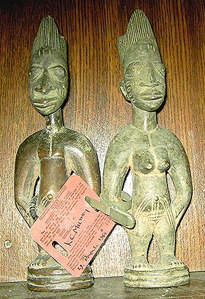 Ibeji - Pair of Ibeji, authenticated by the Department of Antiquities of Nigeria