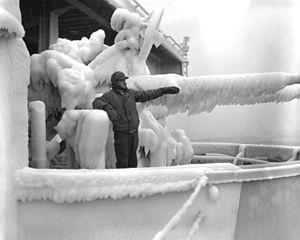Ice covered guns on USS Oriskany (CVA-34) 1953.JPEG
