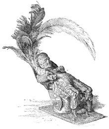 Image of a 19th-century illustration of an obeah figure of a seated figure confiscated from a black man named Alexander Ellis
