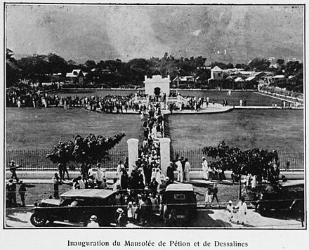 Opening of the mausoleum of Petion and Dessalines in 1926 Inauguration du Mausolee de Petion et de Dessalines.jpg