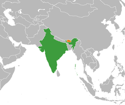 Map indicating location of India and Bhutan