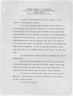 Remarks by FDR during 1938 visit to Imlay