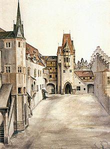Cortile del castello di Innsbruck (1494), acquerello, Vienna, Albertina