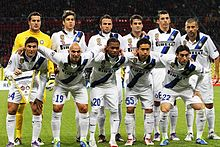 Inter lining up before a Champions League match against CSKA Moscow on 27 September 2011