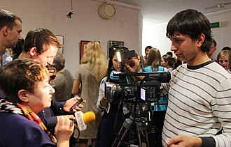 Belsat TV - Image: Interview of Belarusian Art critic Larisa Finkelshtein to Belsat TV 02