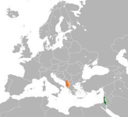 Mapo indikante lokojn de Albanio kaj Israelo