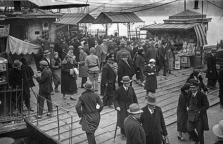 People at the commuter ferry quay of Karaköy in Istanbul in the 1930s Istanbul 1930s.jpg