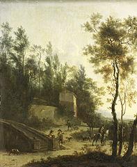 Italian landscape with hunters
