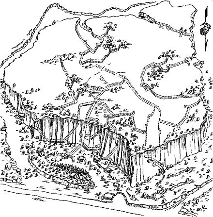 Sketch of Hill 362A, made by the 31st U.S. Naval Construction Battalion. Dotted lines show the Japanese tunnel system. Iwo Jima Tunnels.JPG