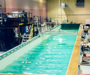 Wave tank - Model testing with periodic Stokes waves in the Wave–Tow Tank of the Jere A. Chase Ocean Engineering Laboratory, University of New Hampshire.