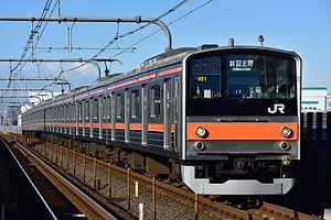 205 series - A 205 series train on the Musashino Line in January 2017